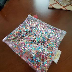 Sparkle glitter zip pouch